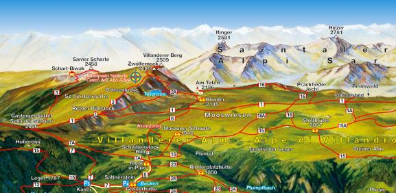 Hiking map Villanderer Alm/Alpe di Villandro - In the heart of South Tyrol | Granpanorama Hotel StephansHof ****